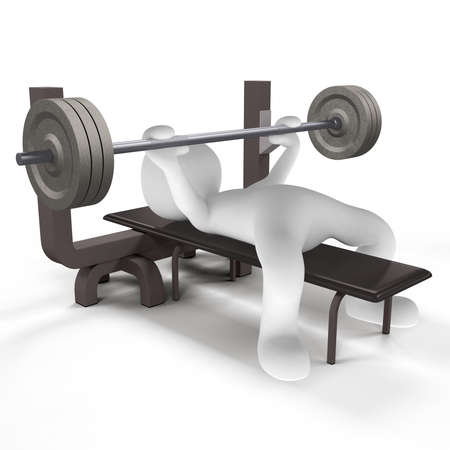 training device: Muscles you train with heavy equipment in the gym Stock Photo