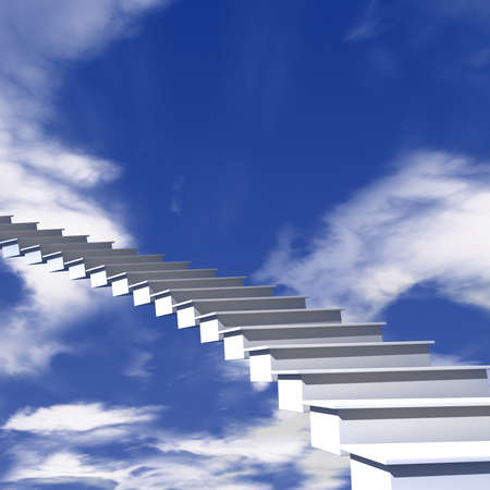 The stairway to heaven know the way of happy and blessed Stock Photo