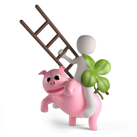 lucky charm: A lucky charm can be a clover, a pig or a rider as a chimney sweep Stock Photo