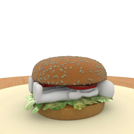 Hamburger makes eating fast but has enough calories photo
