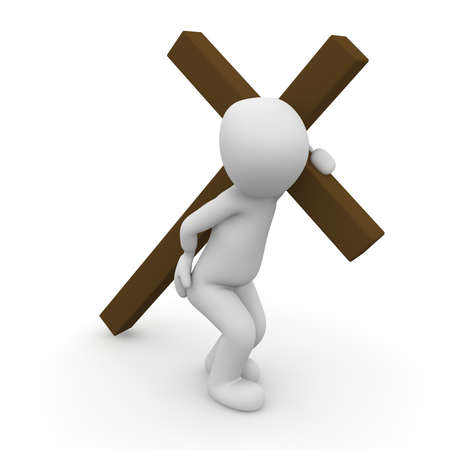 Jesus Christ carrying his cross on the way to crucifixion