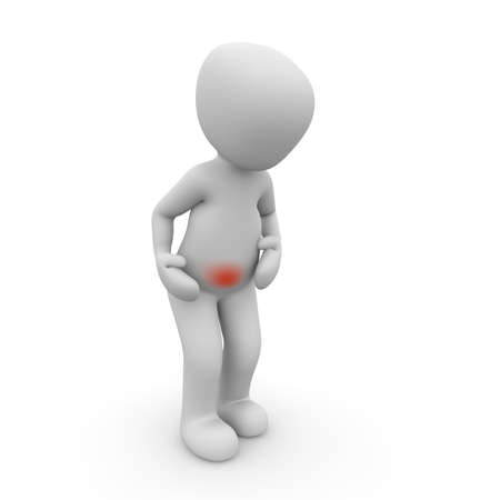 Abdominal pain is very painful and a sign of physical weakness Stock Photo