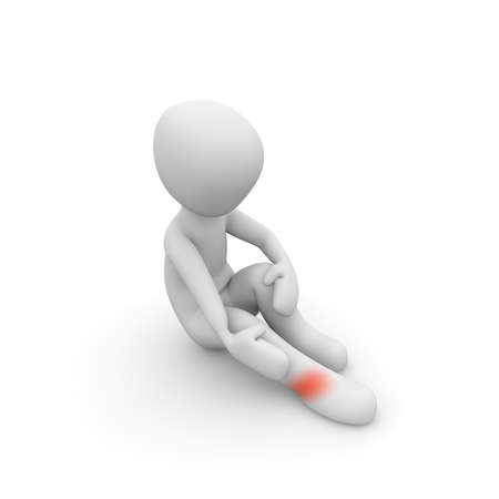 foot pain is very painful and a sign of physical weakness Stock Photo
