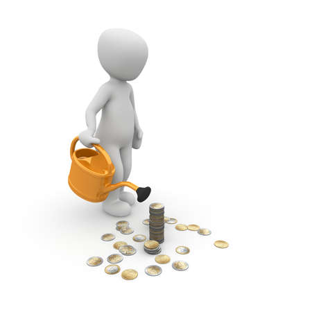 A 3d character with a watering can pouring his money.