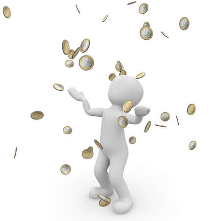 A person is happy about the money that falls from the sky. Stock Photo