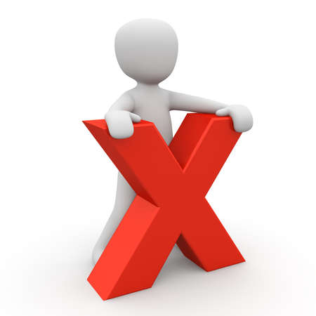 fallacy: A 3D character standing behind a red X  Stock Photo