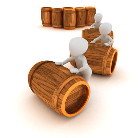 sort out: 3D characters sort out the wine barrels