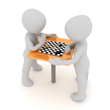 Two chracter are playing chess  photo