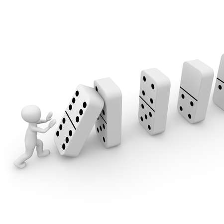 chain reaction: A 3D character pushes the dominoes. Stock Photo