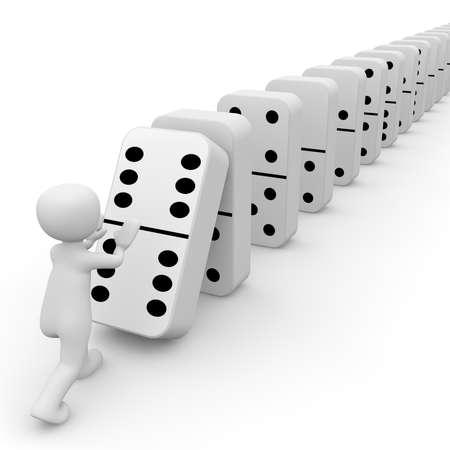 cadenas: Un personaje 3D lanza las fichas de domin�. Foto de archivo