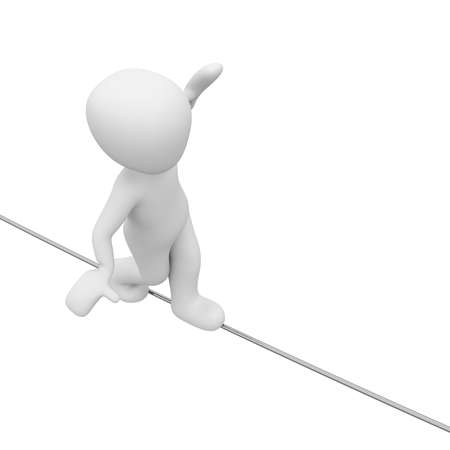 A 3D character fluctuates on a rope.
