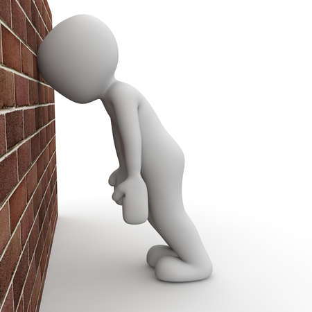 A 3D character wants his head against the wall.