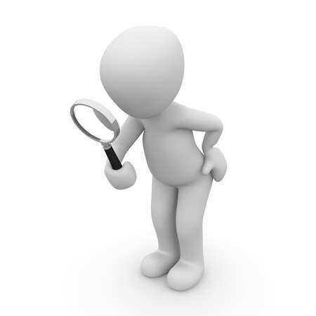 a 3d character is searching anything. Stock Photo