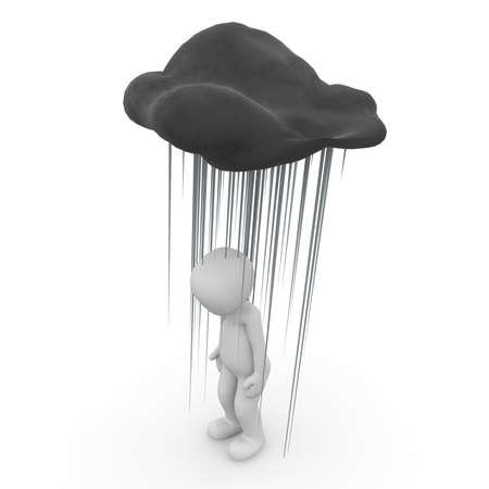 A 3D character under a black rain cloud