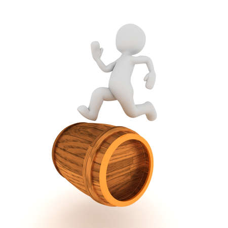 optional: A 3d character running on a wine barrel.
