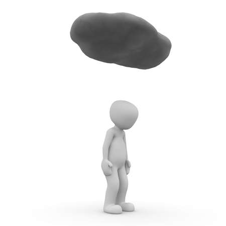 unsuccessfully: A sad 3D character unde a black cloud. Stock Photo