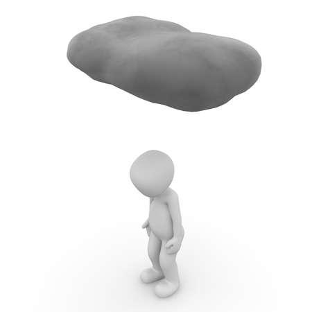A sad 3D character unde a grey cloud