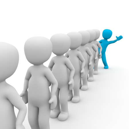 differed: 3D characters stand in a queue with a blue man. Stock Photo