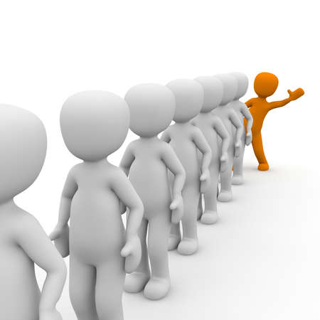 differed: 3D characters stand in a queue with a orange man. Stock Photo