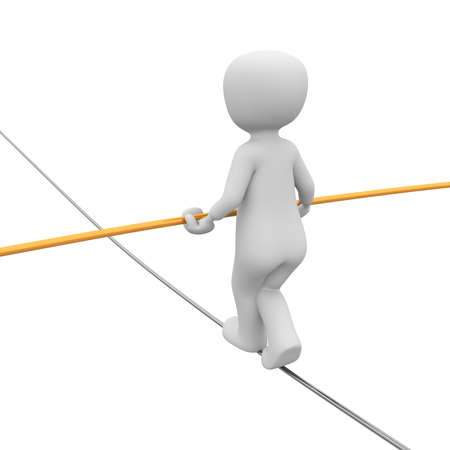 A 3d character as like as a tightrope walker. Stock Photo