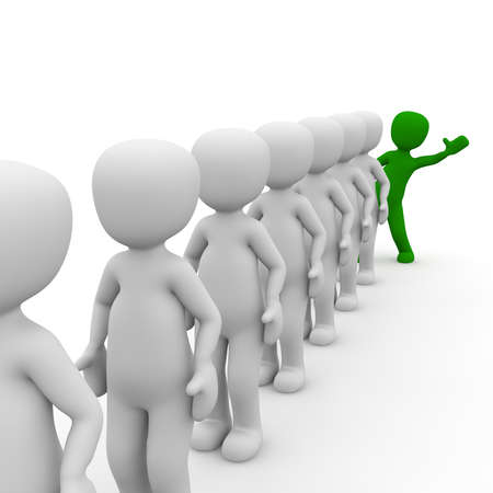 differed: 3D characters stand in a queue with a green man. Stock Photo