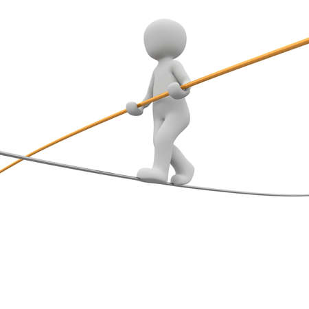 pole dancer: A 3d character walks on a rope.