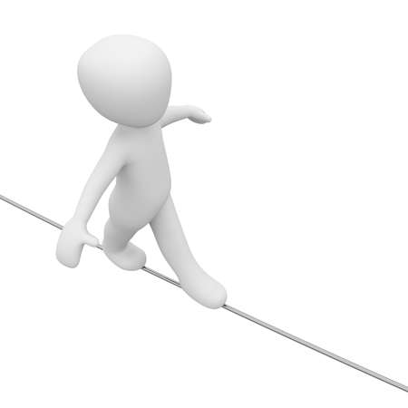 A 3D man are  going on a long rope. Stock Photo