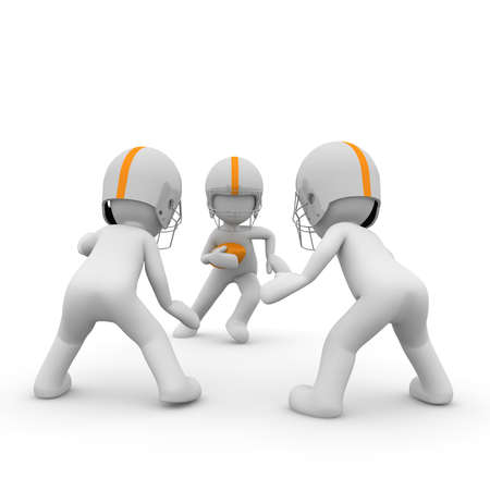 uniforme de futbol: Tres personajes 3d juegan juntos en un tr�o de f�tbol americano.