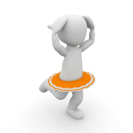 A 3D character dances ballet in a tutu.