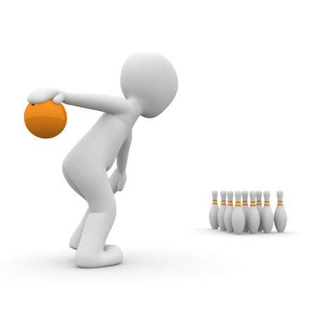 A 3d character prepares to throw the bowling ball. photo