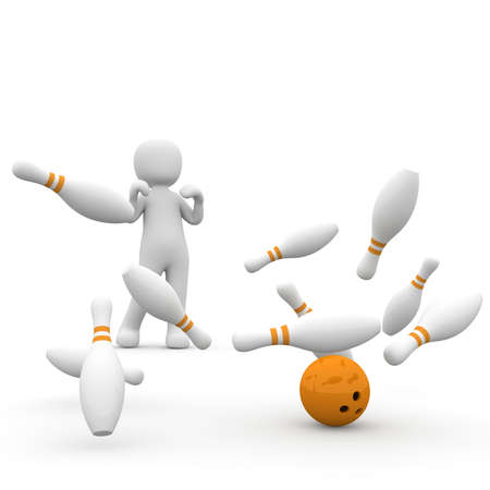 A successful 3D character throws all cone around the bowling.