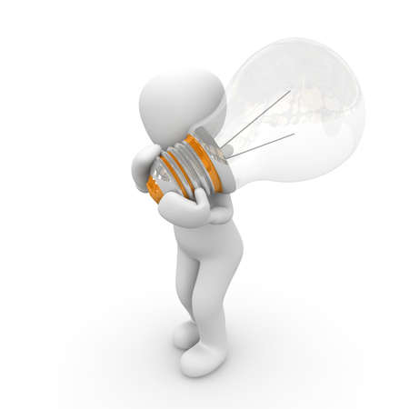 A 3D character carries a large bulb on the shoulder. photo