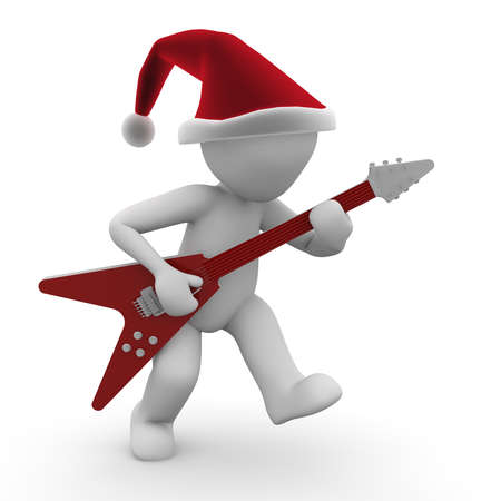 A 3d character plays a christmas carol with an electric guitar.