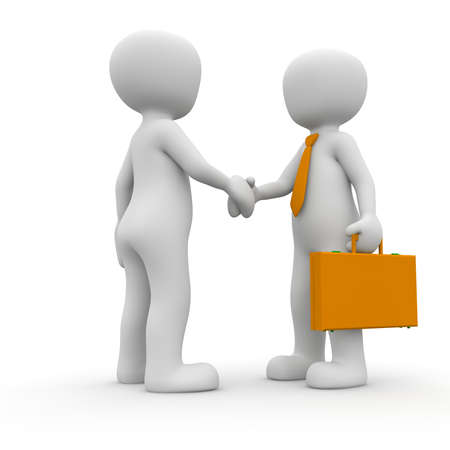 Customer and provider shakes the hands after the deal.