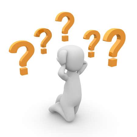 onbeantwoorde: Een 3D personage heeft veel onbeantwoorde vragen.