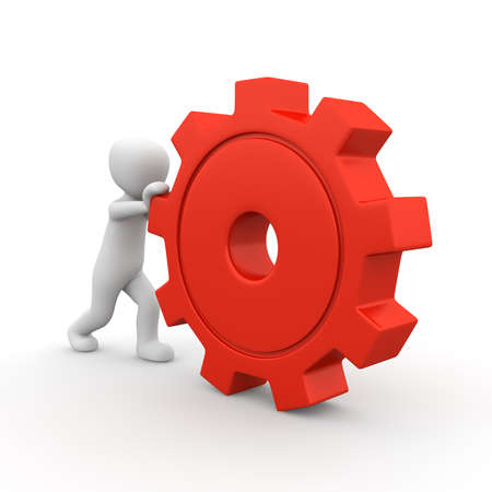A small 3d charakter rolls a big, red gear. Stock Photo