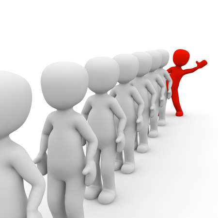 differed: 3D characters stand in a queue with a red  man. Stock Photo