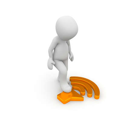 A character presses on a orange button that regulates the volume. Banco de Imagens