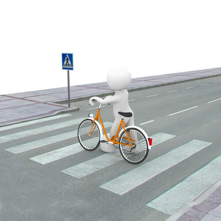 A 3d character pushes his bicycle through the crosswalk. Stock Photo