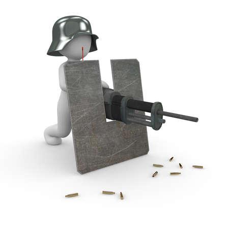 A soldier with a machine gun shoots around him. Stock Photo - 19901032