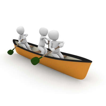 Three characters go together in a boat on water.