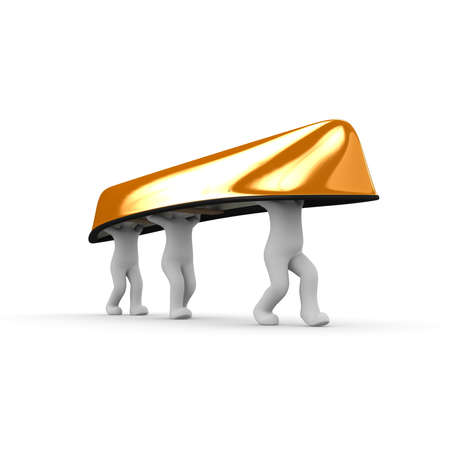 jointly: Three characters are jointly an overturned canoe orange.