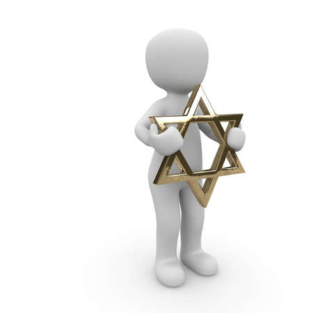 A Jewish character holds the star of david in his two hands.