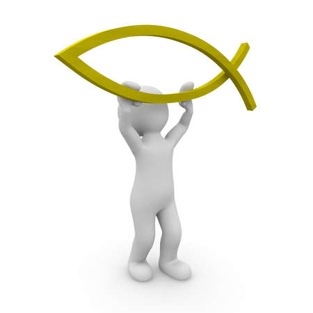 ichthys: An evangelical character holding the fish sign up. Stock Photo