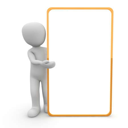 teaching material: A character presented a large, orange border panel.
