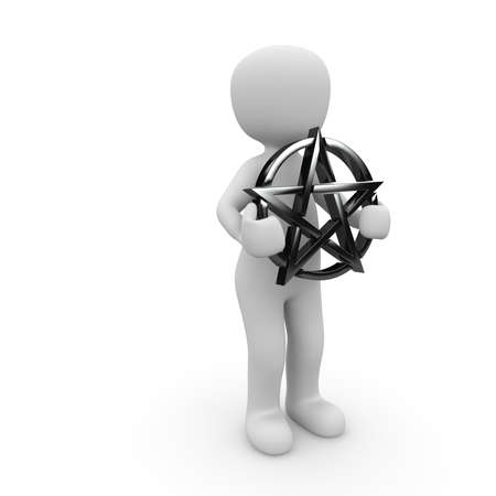 A character holding a black pentagram in his two hands. photo