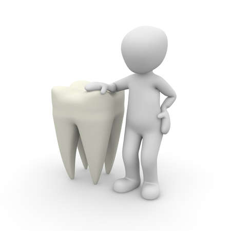 hollow body: A character relies on a very large tooth. Stock Photo