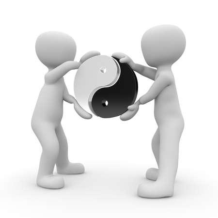 Twee personages houdt het symbool van Yin en Yang in de lucht. Stockfoto - 20038265