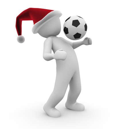 クリスマスに彼らはまだサッカーのラウンドを再生します。 写真素材