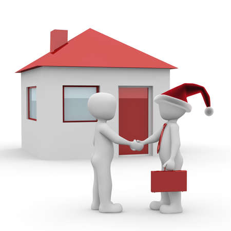 A character closes for Christmas from a contract for a new house. photo